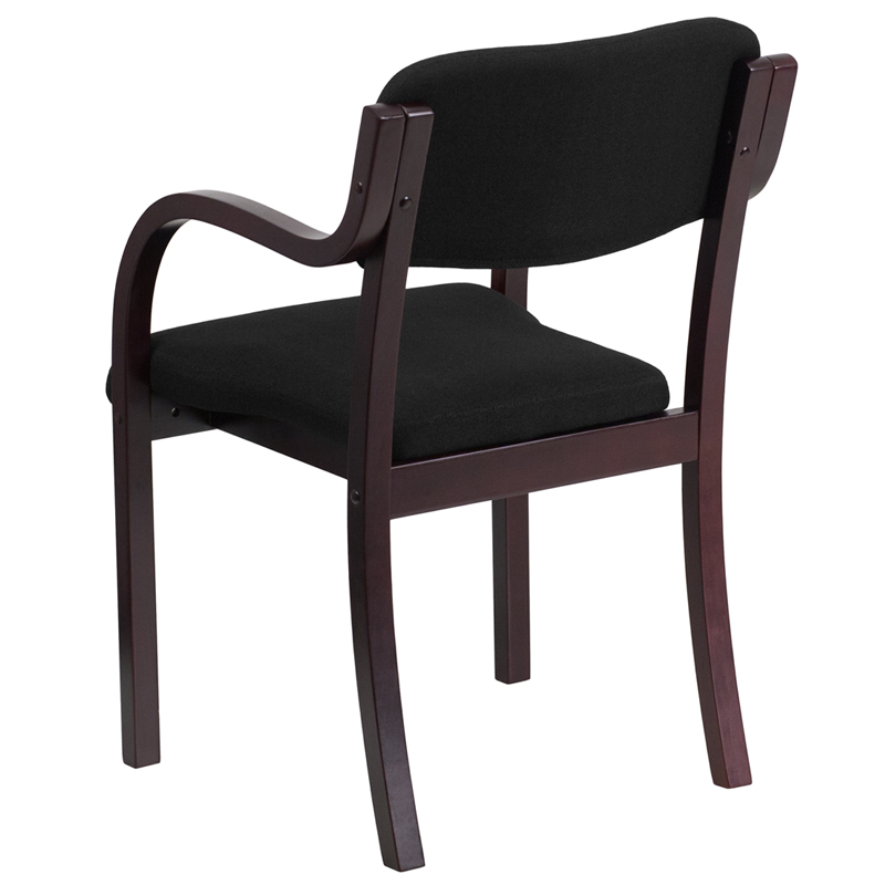 Contemporary mahogany wood side reception chair with arms