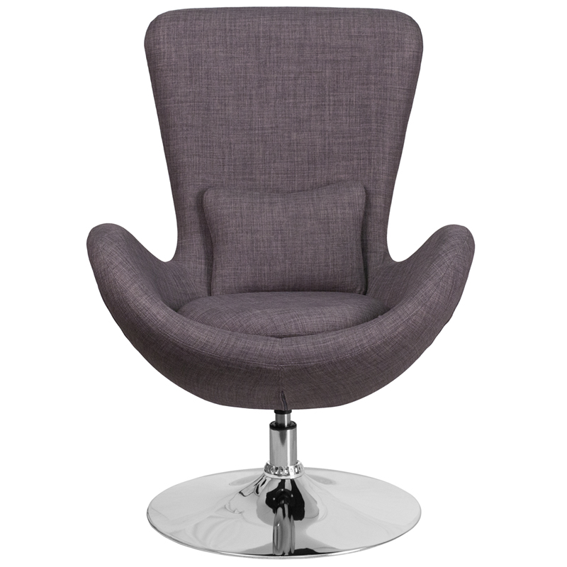 Egg Series Dark Gray Fabric Side Reception Chair [CH
