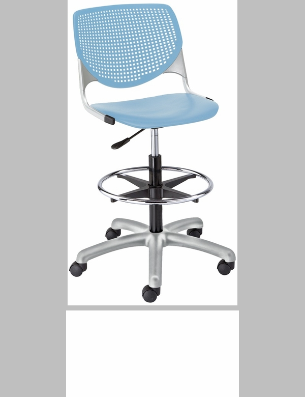 Ds2300 Kool Series Poly Armless Task Stool With Perforated Back And Silver Frame Sky Blue Ds2300 P35 Ifk