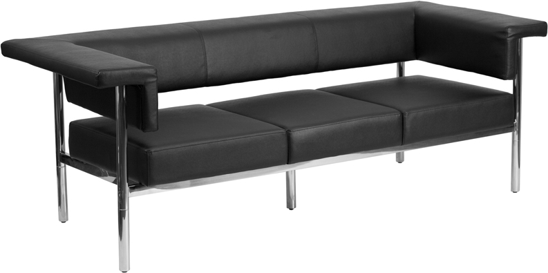 HERCULES Fusion Series Contemporary Black Leather Sofa With Stainless Steel  Frame [ZB 8811 3 SOFA BK GG]