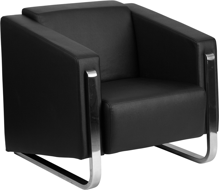 HERCULES Gallant Series Contemporary Black Leather Chair With Stainless  Steel Frame [ZB 8803 1 CHAIR BK GG]