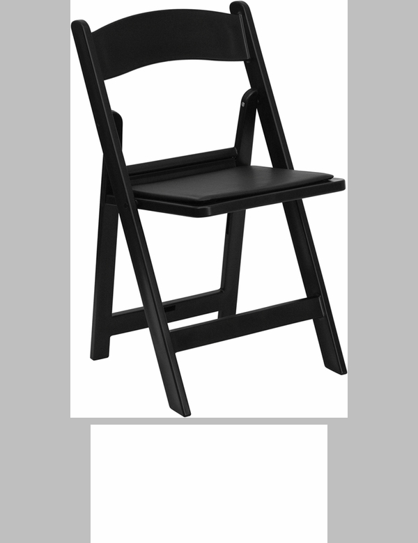 Great Capacity Black Resin Folding Chair With Black Vinyl Padded Seat [LE L 1  BLACK GG]