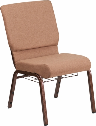 HERCULES Series 18.5''W Church Chair in Caramel Fabric with Cup Book Rack - Copper Vein Frame [FD-CH02185-CV-BN-BAS-GG]