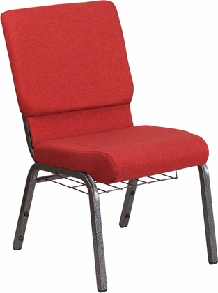 HERCULES Series 18.5''W Church Chair in Red Fabric with Cup Book Rack - Silver Vein Frame [FD-CH02185-SV-RED-BAS-GG]