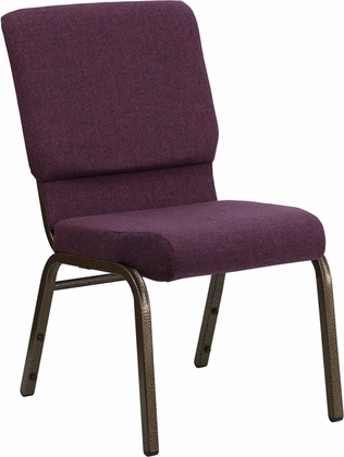 HERCULES Series 18.5''W Stacking Church Chair in Plum Fabric - Gold Vein Frame [FD-CH02185-GV-005-GG]