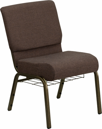 HERCULES Series 21u0027u0027W Church Chair In Brown Fabric With Cup Book Rack    Gold Vein Frame ...
