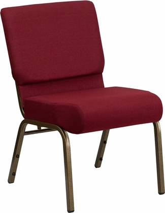 HERCULES Series 21''W Stacking Church Chair in Burgundy Fabric - Gold Vein Frame [FD-CH0221-4-GV-3169-GG]