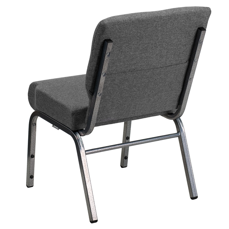 Elegant HERCULES Series 21u0027u0027W Stacking Church Chair In Gray Fabric   Silver Vein  Frame ...