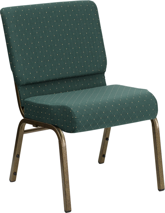 Series 21W Stacking Church Chair in Hunter Green Dot Patterned
