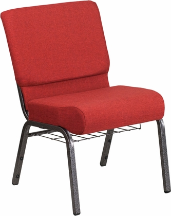 HERCULES Series 21''W Church Chair in Crimson Fabric with Cup Book Rack - Silver Vein Frame [FD-CH0221-4-SV-RED-BAS-GG]