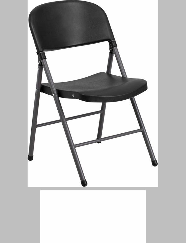 HERCULES Series 330 Lb. Capacity Black Plastic Folding Chair With Charcoal  Frame [DAD YCD 50 GG]
