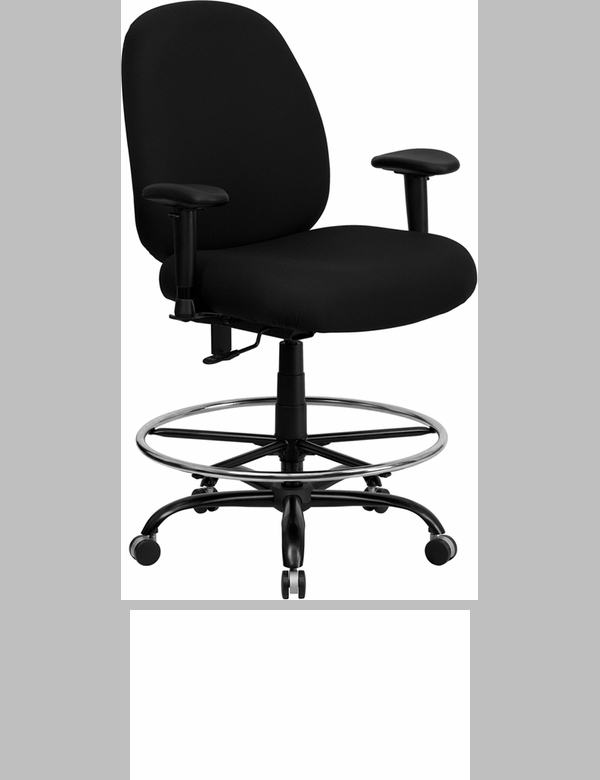 HERCULES Series Big U0026 Tall 400 Lb. Rated Black Fabric Drafting Chair With  Adjustable Arms [WL 715MG BK AD GG]