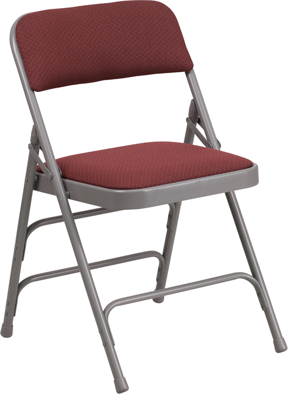 Awesome HERCULES Series Curved Triple Braced U0026 Double Hinged Burgundy Patterned  Fabric Metal Folding Chair [AW MC309AF BG GG]