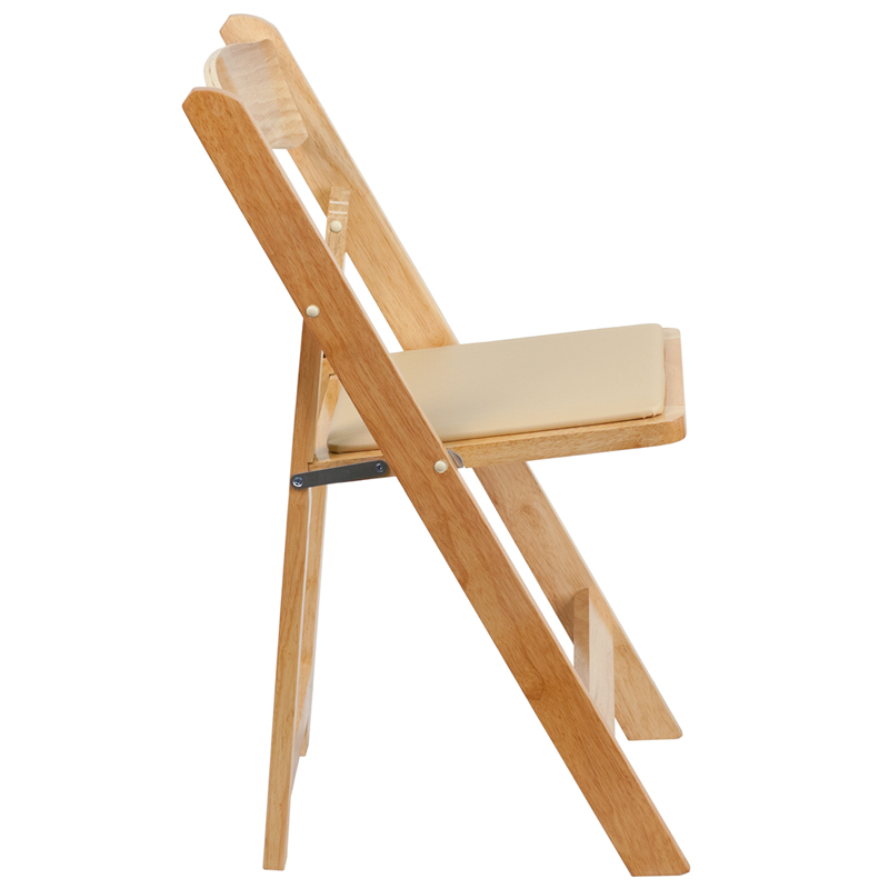 HERCULES Series Natural Wood Folding Chair With Vinyl Padded Seat  [XF 2903 NAT WOOD GG]