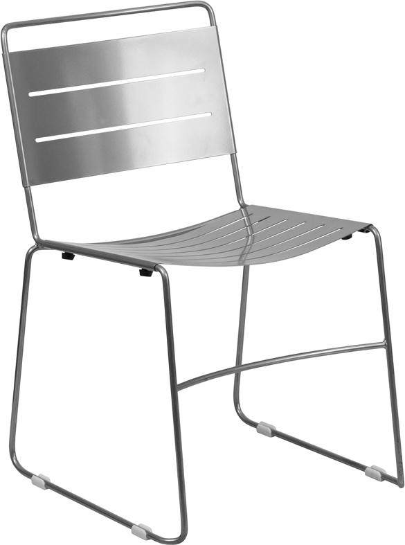 HERCULES Series Silver Indoor Outdoor Metal Stack Chair [HA 1 SIL GG]