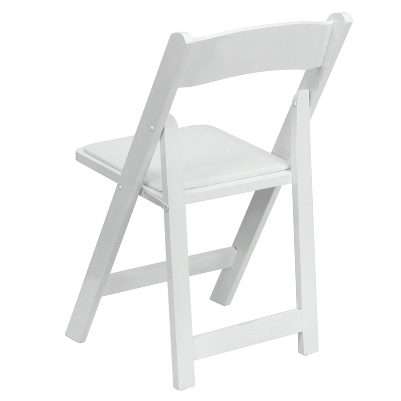 HERCULES Series White Wood Folding Chair with Vinyl Padded Seat [XF 2901 WH W