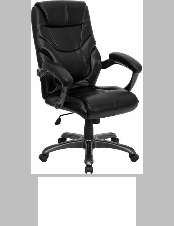 Mid Back Black Leather Overstuffed Swivel Task Chair With Arms GO 724M MID B