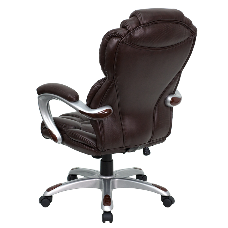 High Back Brown Leather Executive Swivel Chair with Arms  : high back brown leather executive office chair with leather padded loop arms go 901 bn gg 10 <strong>Padded Stackable</strong> Arm Chairs from www.churchchairs4less.com size 800 x 800 jpeg 182kB