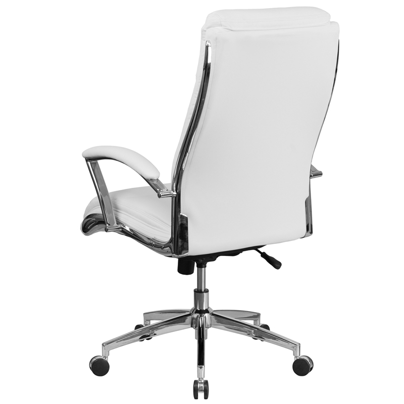 High Back Designer White Leather Executive Swivel Chair