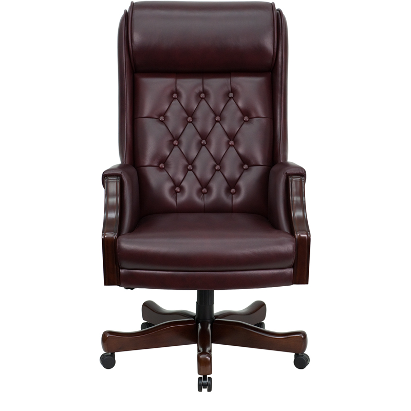 High Back Traditional Tufted Burgundy Leather Executive Swivel Chair With  Arms [KC C696TG GG]