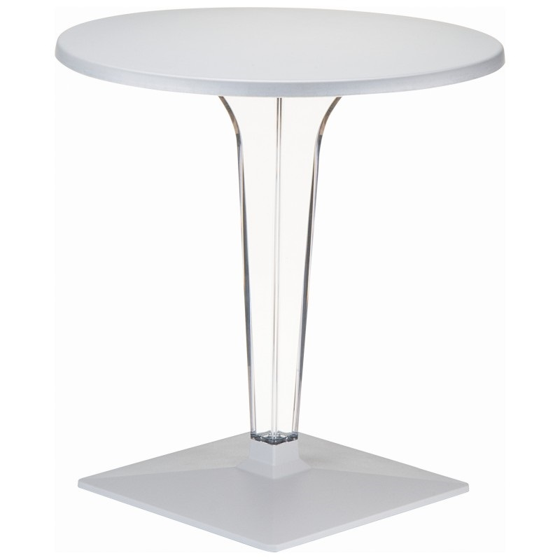 Exceptional Ice Outdoor Transparent Dining Table Base With 32u0027u0027 Round Weralitz Top    Silver [ISP520 SIL FS CMP]