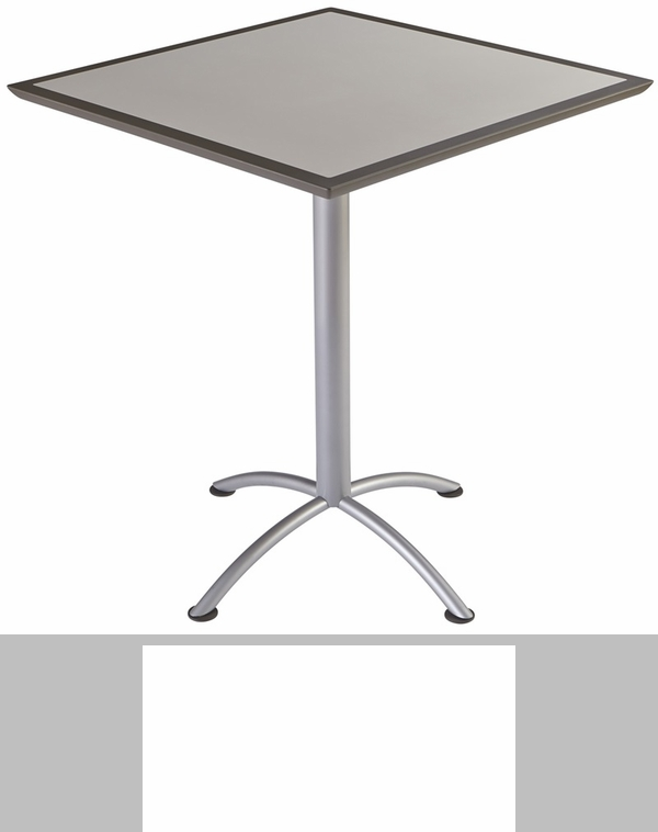 iland square steel frame conference table with urethane edge gray with silver legs