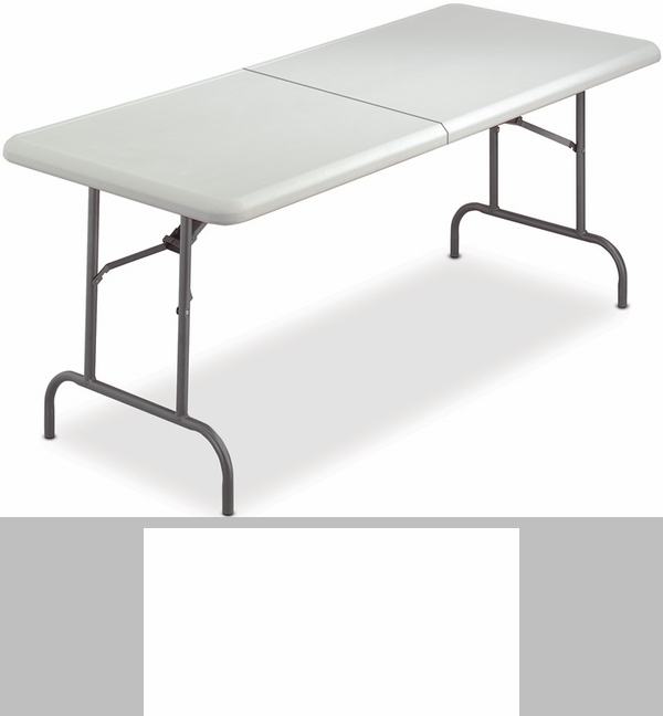 IndestrucTABLE TOO 30u0027u0027 W X 60u0027u0027 D Bi Fold Rectangular Folding Table    Platinum [65453 ICE]