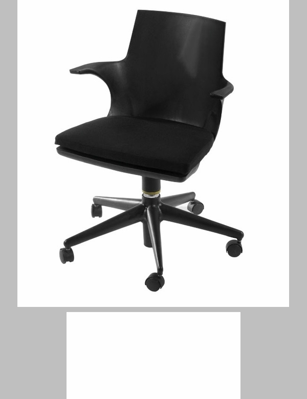jaden black plastic rolling chair with black cushion - Rolling Chair