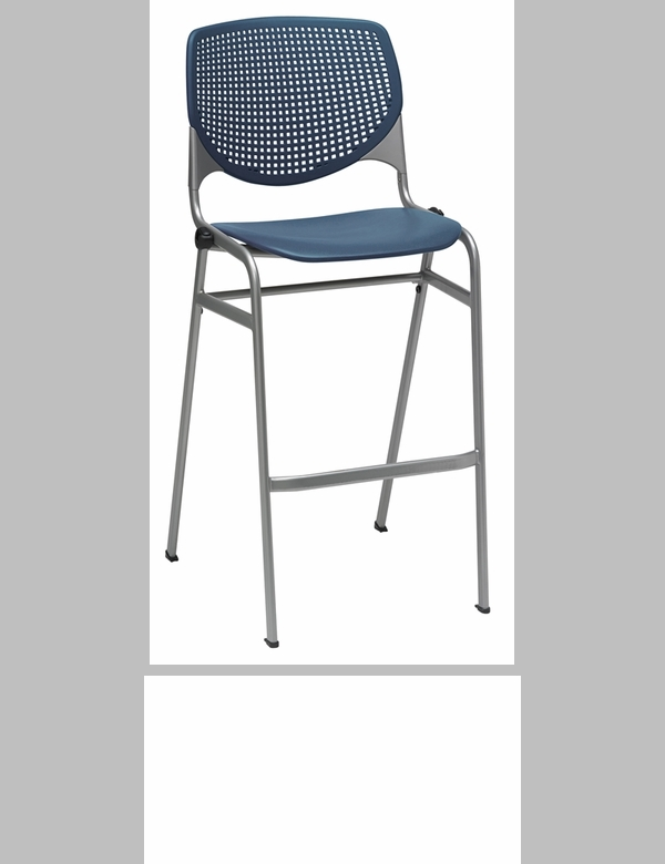 2300 Kool Series Stacking Poly Armless Barstool With Perforated Back And Silver Frame Navy Br2300 P03 Ifk