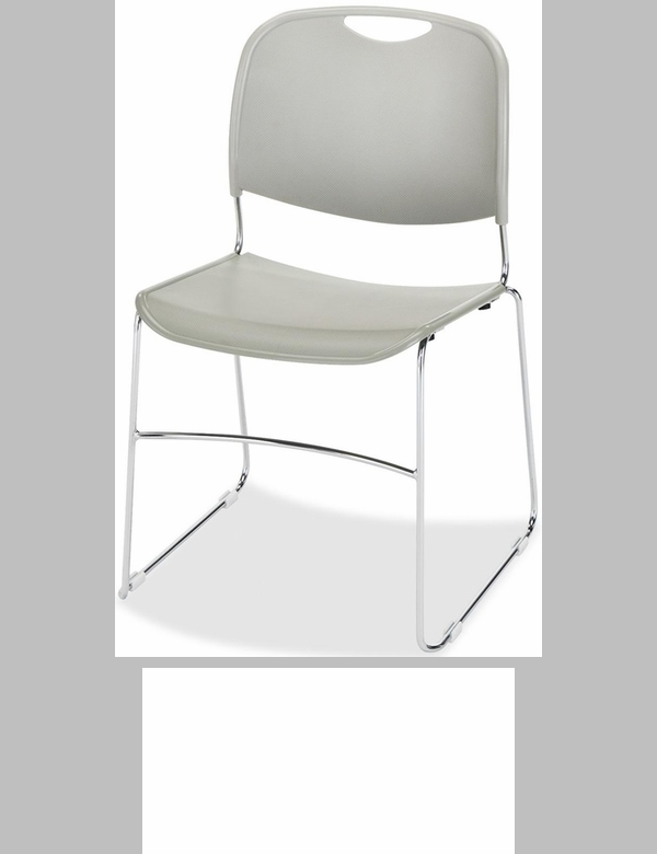 Lorell Black Plastic Lumbar Support Stacking Chair with Chrome