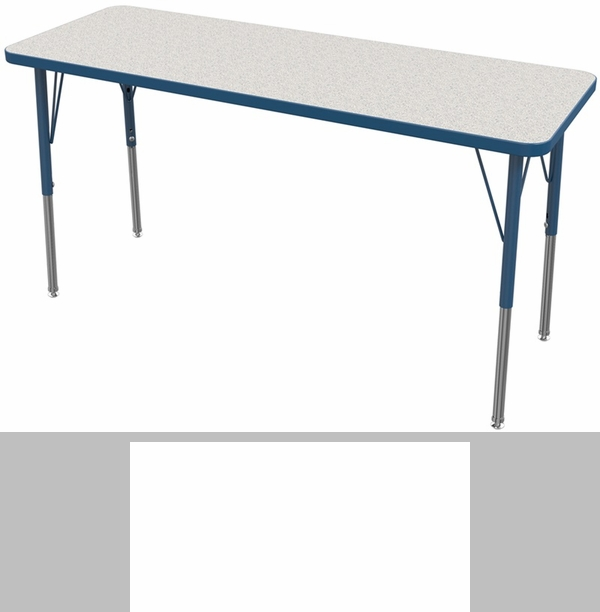 MG Series Kids Height Adjustable Rectangular Activity Table   Gray Glace  Top With Navy Edge And Legs   72u0027u0027W X 30u0027u0027D X 16u0027u0027H   24u0027u0027H  [MG2238 82 ANAV MGI]