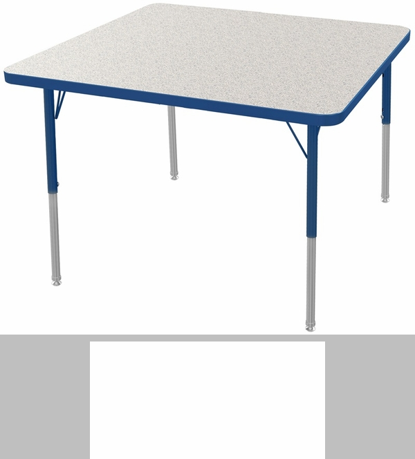 MG Series Kids Height Adjustable Square Activity Table   Gray Glace Top  With Navy Edge And Legs   48u0027u0027W X 48u0027u0027D X 16u0027u0027H   24u0027u0027H [MG2216 82 ANAV MGI]
