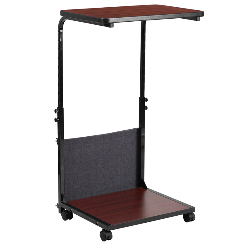 mobile sit down stand up mahogany computer desk with removable pouch adjustable range 27 39 39 46. Black Bedroom Furniture Sets. Home Design Ideas