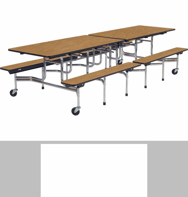 Mtb Series Mobile Folding Bench Table With 17 39 39 H Bench Seating 30 39 39 W X 144 39 39 D X 29 39 39 H