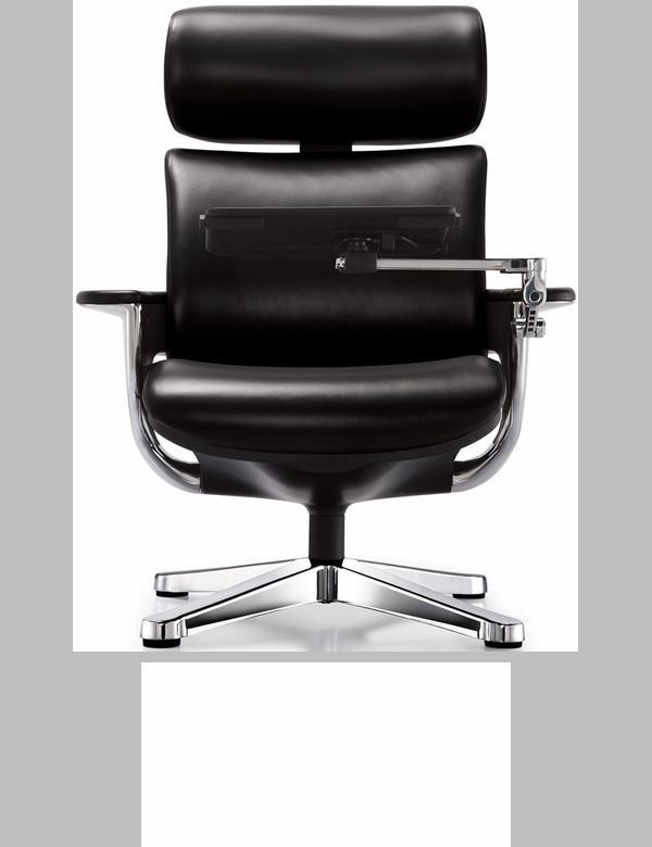 Nuvem Leather Office Chair with Footrest and Built in Laptop Holder - Black  [NUVEMBLK-FS-EURO] - Nuvem Leather Office Chair With Footrest And Built In Laptop
