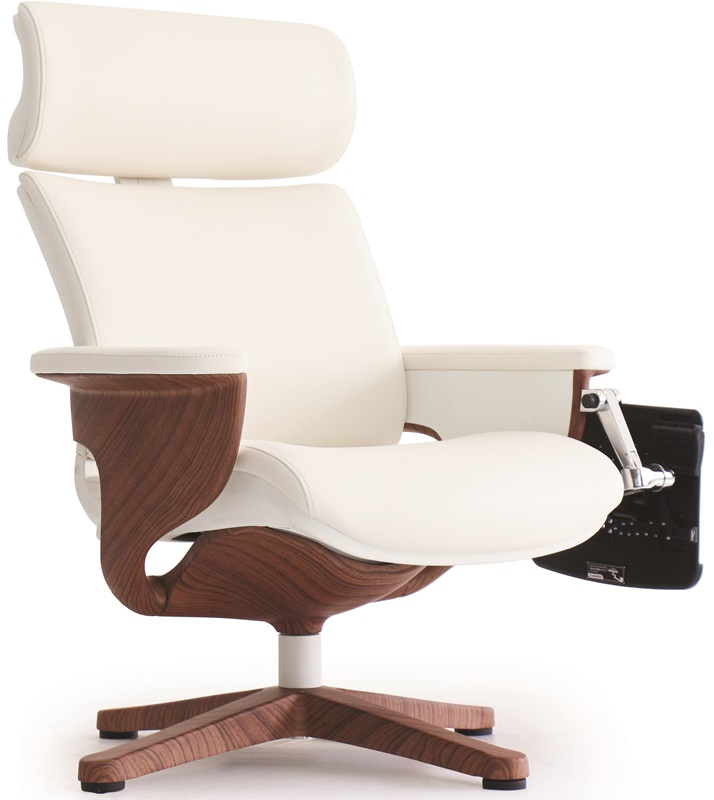Nuvem Leather Office Chair with Footrest and Built in Laptop Holder - White  with Teak Finish Frame ... - Leather Office Chair With Footrest And Built In Laptop Holder