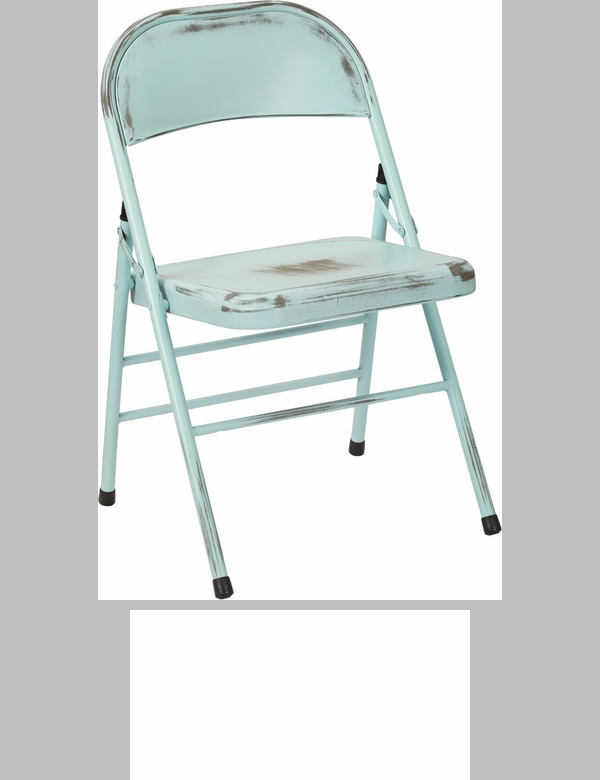 OSP Designs Bristow Distressed Steel Folding Chair   Set Of 4   Antique Sky  Blue [BRW831A4 ASB OS]