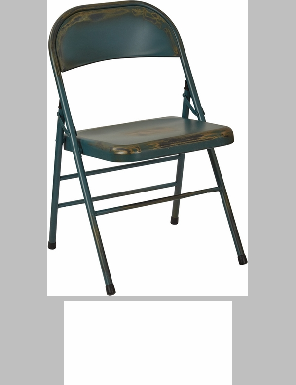 OSP Designs Bristow Distressed Steel Folding Chair   Set Of 4   Antique  Turquoise [BRW831A4 ATQ OS]