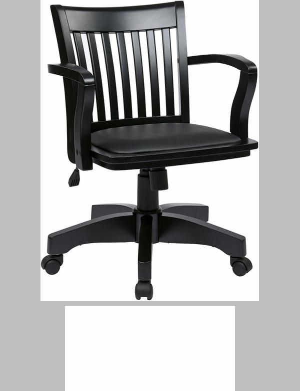 osp designs deluxe wood chair with black vinyl padded seat black 108blk3fsos