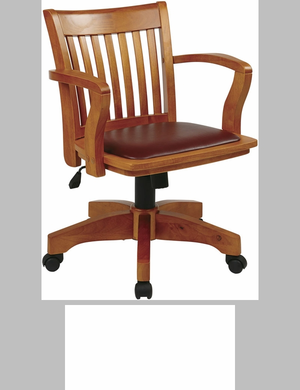 osp designs deluxe wood chair with brown vinyl padded seat fruitwood 108fw1fsos