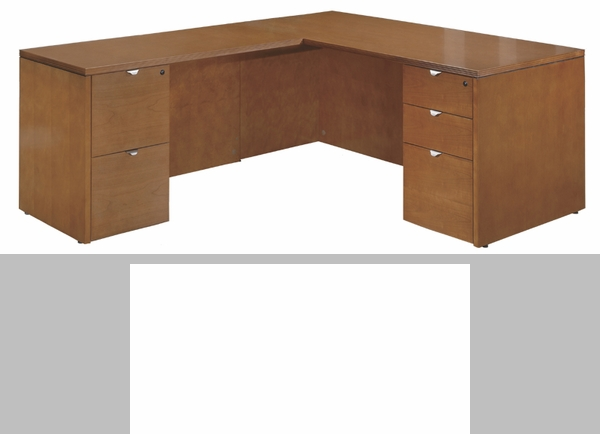 OSP Furniture Kenwood Hardwood Veneer 66'' L-Shaped Desk with ...
