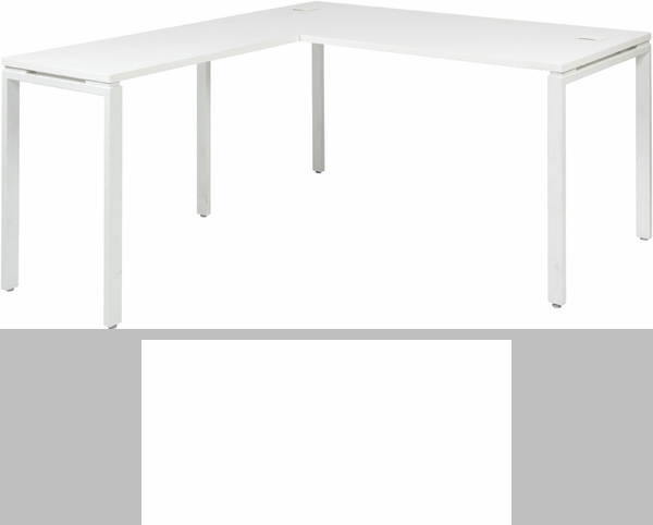 Pro Line II Prado L Desk With Laminate Top And Metal Legs   White  [PRD3060 WH FS OS]