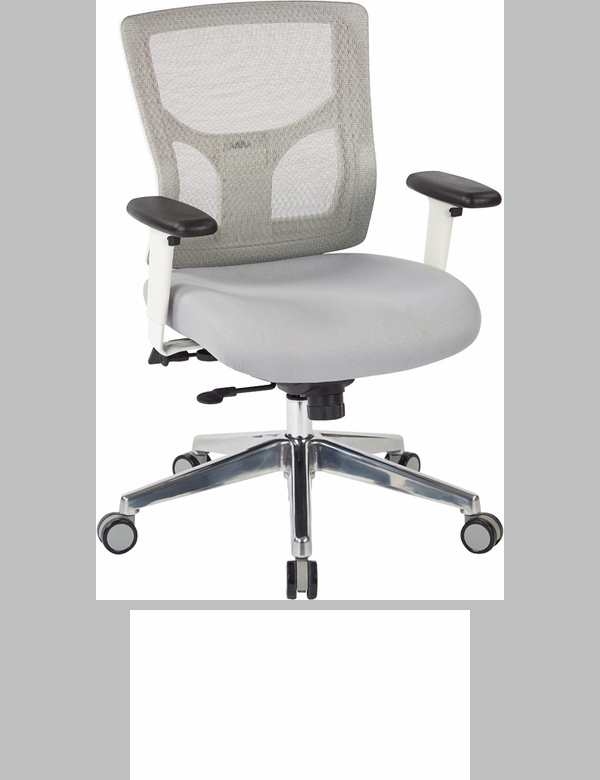 Pro Line II ProGrid White Mesh Mid Back Office Chair with 2 Way Adjustable  Arms   Grey Fabric Seat  95673 FS OS Pro Line II ProGrid White Mesh Mid Back Office Chair with 2 Way  . Grey Fabric Office Chair. Home Design Ideas