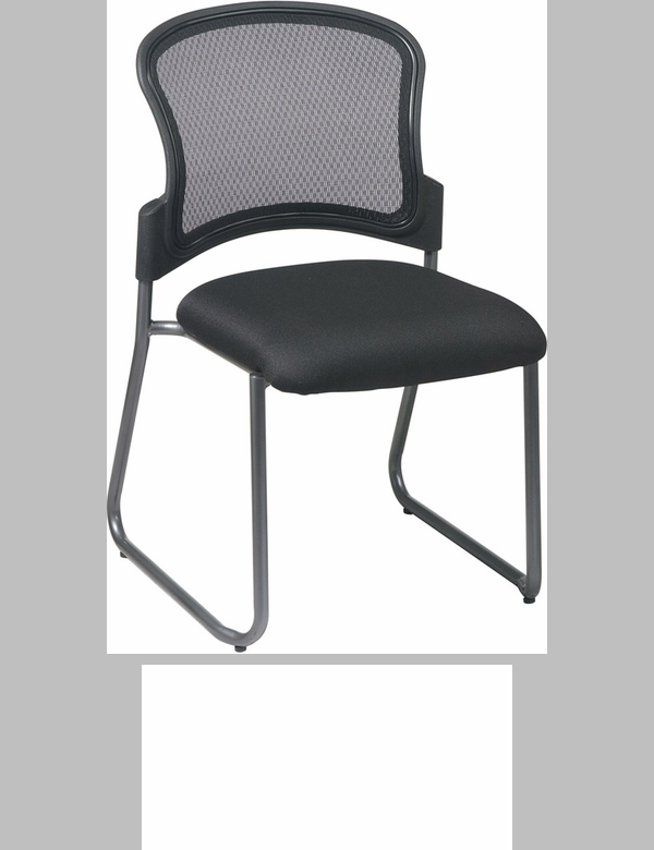 proline ii titanium finish visitors stack chair with progrid back and sled base black 86725fsos