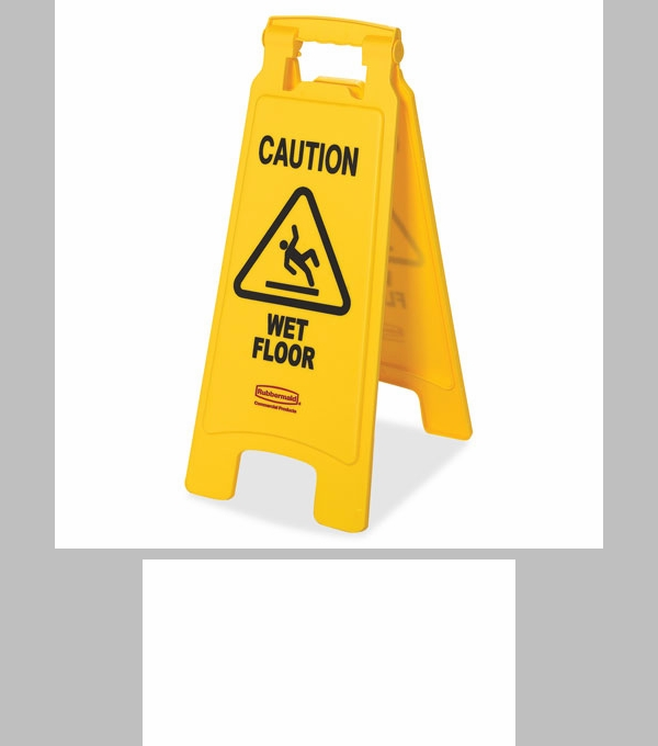 rubbermaid commercial products caution wet floor safety sign x x