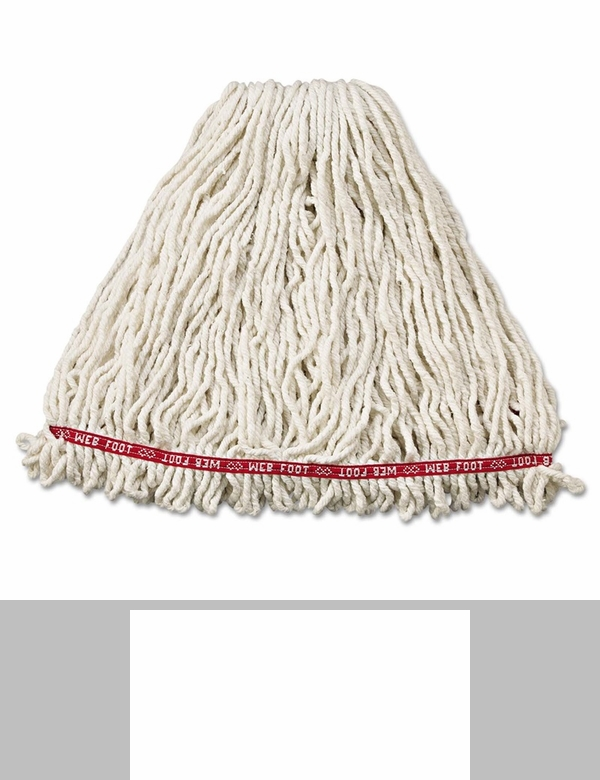 Rubbermaid Commercial Large White Web Foot Finish Mops with 1 White Headband 6