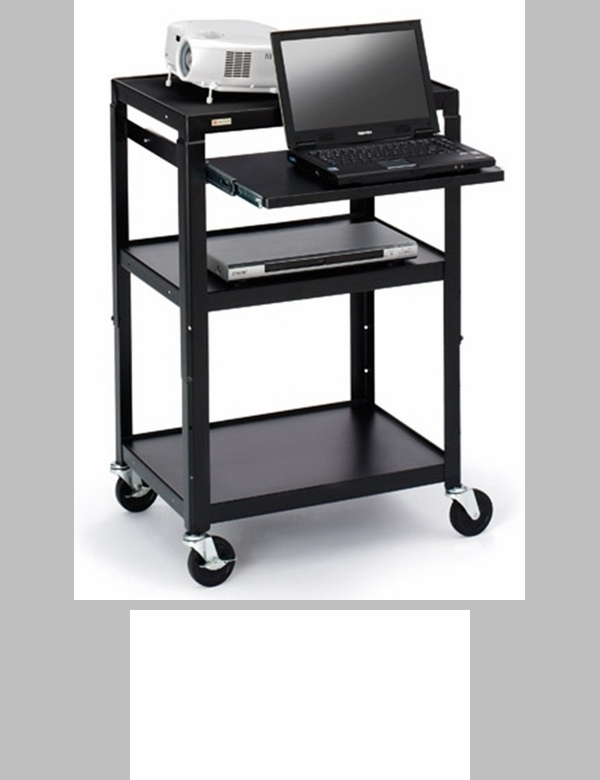 Three shelf adjustable av notebook cart with 6 electrical for Furniture 4 less outlet