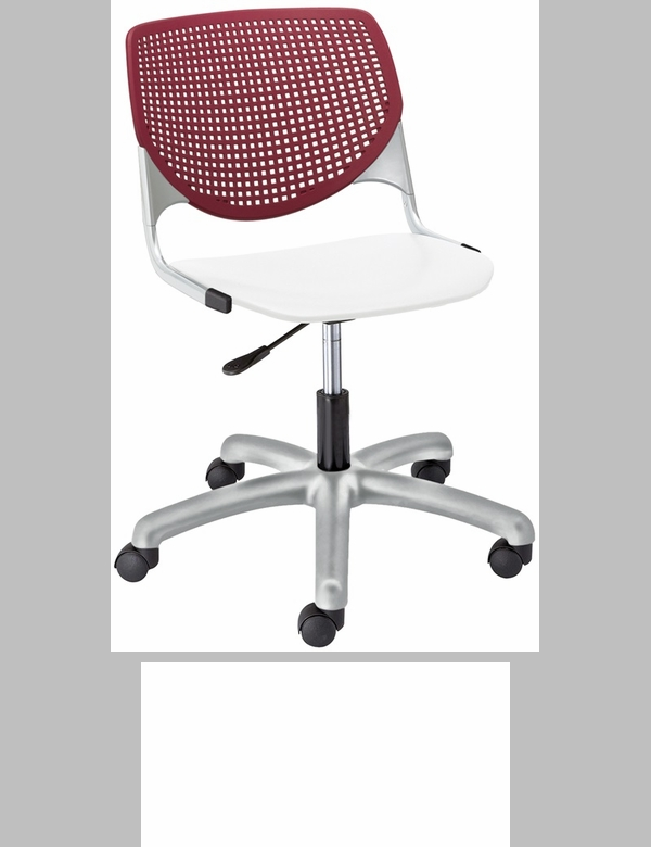 Tk2300 Kool Series Poly Armless Task Chair With Burgundy Perforated Back And White Seat Tk2300 Bp07 Sp08 Ifk