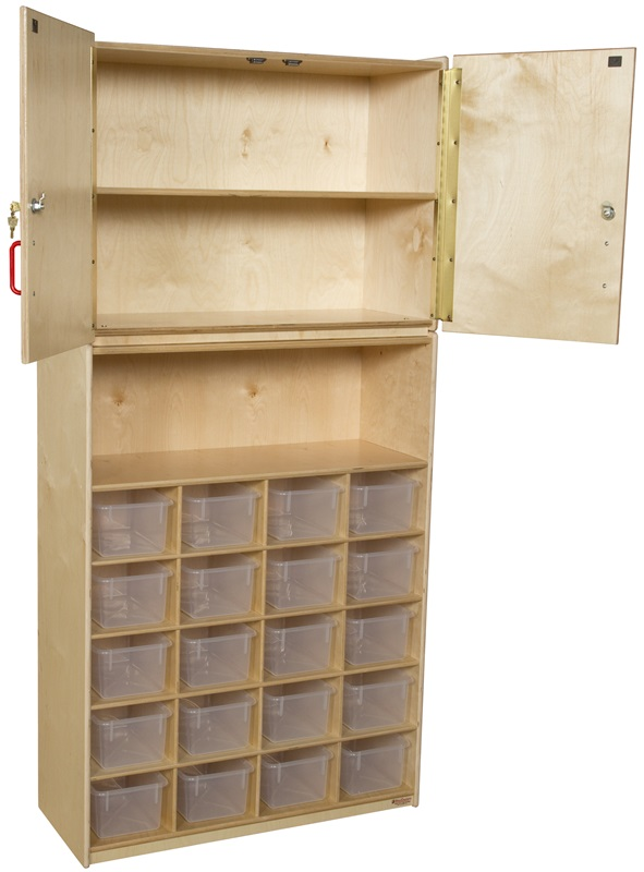 vertical locking storage cabinet with 20 clear plastic trays x x