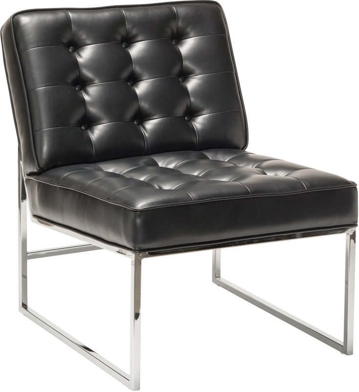 Work Smart Anthony Faux Leather Chair With Chrome Base   Black  [ATH51 B18 FS OS]